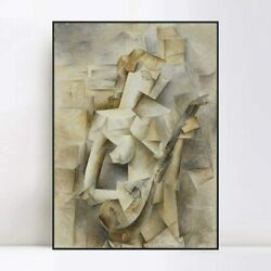 Framed Canvas Art Girl With A Mandolin1910 by Pablo Picasso Home Decor 24quot;x32quot; $89.99