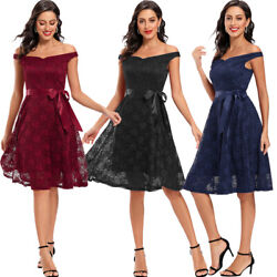 Lace Women Off Shoulder Bridesmaid Dress Formal Evening Party Prom Ball Dresses