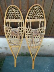 NICE VINTAGE Snowshoes 42quot; Long x 12quot; with Leather Bindings REBAF $57.84