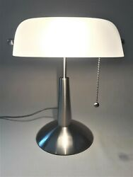 Chrome Banker Adjustable Height Desk Lamp w Pull Chain Switch  $27.95