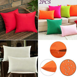 2x Decorative Outdoor Waterproof Pillow Cover Square Garden Cushion Case Duarble