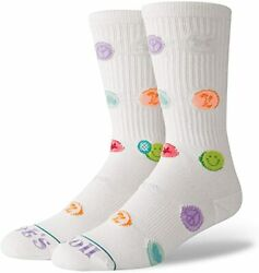 Stance Lets Roll Classic Crew Socks Mens 9 12 Large Cushion White Combed Cotton $11.99