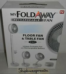 MY FOLDAWAY FAN RECHARGEABLE ULTRA LIGHTWEIGHT PORTABLE COMPACT FLOOR TABLE $39.99