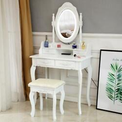 Makeup Vanity Set Dressing Table Bedroom With Lighted Mirror With Stool $117.99