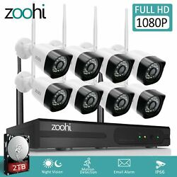 Zoohi Outdoor Security Camera System Wireless WIFI 1080P Home CCTV 1TB 2TB 4 8CH $199.99