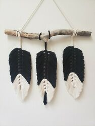 macrame wall hanging with feathers $25.00