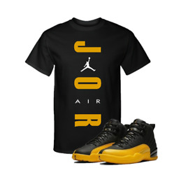 Jordan 12 Retro University Gold Black Match Custom T Shirt🔥 $25.99