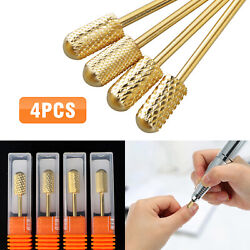 4pcs Safety Cylindrical Round Carbide Bit 3 32 Electric Drill Nail Art Tool Set $13.98