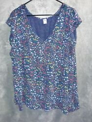 Old Navy Navy Blue Floral Plus Size Top $25.00