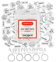 Silver Word Charms 60 pcs for Bracelet amp; Jewelry Making by Incraftables $12.95