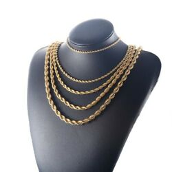 Pure Real10K Solid Yellow Gold 4mm Rope Chain Necklace 12 30quot;Inch Free shipping $105.00