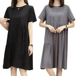 Plus Summer Women Short Sleeve Pleated T Shirt Dress Casual Shift Dresses Party $15.19