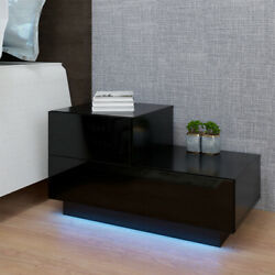 Modern High Gloss Nightstand Bedroom Bedside Table 2 Drawers w RGB LED Light $83.99