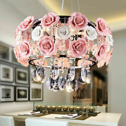 Ceramic Pink Rose Chandeliers Modern Crystal Pendant Lamps Ceiling Fixtures $113.04