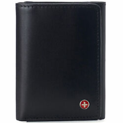 Alpine Swiss Mens Trifold Wallet RFID Blocking Genuine Leather Bifold ID Window $16.95