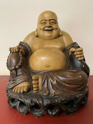 Antique Large Chinese Hand Carved Wood Buddah Happy Buddah Great Details Mint $99.00