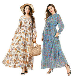 Abaya Women Chiffon Long Sleeve Maxi Dress Muslim Floral Printed Kaftan Jilbab C $37.18