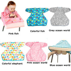 NEW Bibs Baby Waterproof Infant Eating Children Long Sleeve Burp Cloths Portable $15.90