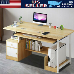 US Wood Computer Desk Drawer PC Laptop Table Workstation Home Office Furniture $112.10