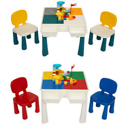 Kids Blocks Compatible Bricks Table and 2 Chairs Set Children Activity Furniture $55.99