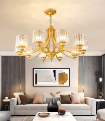 8 Lights Luxury Gold Glass Crystal Chandeliers Pendant Lighting Ceiling Fixtures $209.75