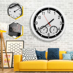 10#x27;#x27; Silent Modern Wall Clock Thermometer * Humidity Living Home Kitche $13.98