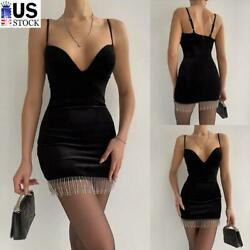 Women#x27;s Sexy Lace V Neck Bodycon Dress Ladies Party Night Club Cocktail Dresses $16.19