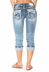 Grace In LA Capri Mid Rise Easy Cropped Embroidered Bling Stretch Cuffed Jeans $67.98