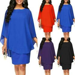 Women#x27;s Chiffon Shawl Poncho Dress Evening Party Cocktail Plus Size Formal Dress $21.18