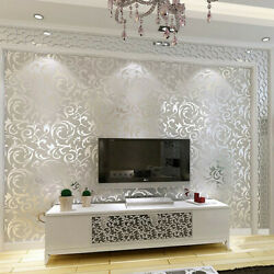 Silver Wallpaper 3D Victorian Damask Roll Silver Luxury Wall Covering Home Decor $17.88