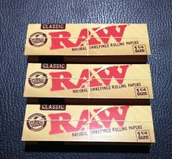 3 Packs Raw Classic 1 1 4 Rolling Papers 50 Lvs USA FREE SHIPPING Natural $4.45