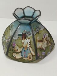 Stain Glass Table Lamp Shade Teddy Bear Floral Home $73.99