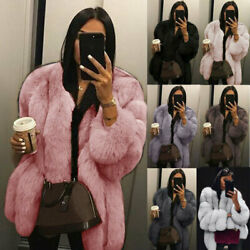 Womens Plus Size Short Faux Fur Coat Warm Furry Jacket Long Sleeve Outerwear $45.31