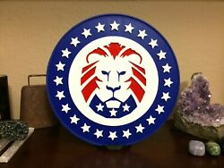 Lion Party for American Patriots 8 inch diameter with stand USA  $5.00