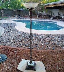 Antique Torchiere Floor Lamp With Marble Base Excellent Condition $349.95
