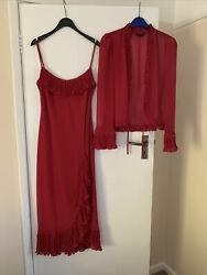 Début Red Cocktail Dress Size 12 With Matching Wrap GBP 20.00