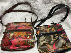 SAKROOTS Medium Multicolor Shoulder Crossbody Purse Bag NATURE Peace HAPPY $29.99