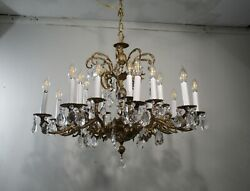 Antique Vintage Chandelier Spanish Bronze 18 Light 2 Tier Crystals Fixture $1050.00