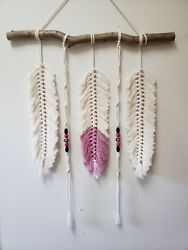 Macrame feather wall hanging with beads $45.00