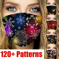 Reusable Washable Breathable Face Mask Cover With Snowflakes Christmas Print $5.99