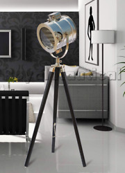 Royal Nautical Chrome Spot Search Light Wooden Tripod Stand Floor LED Lamp Decor GBP 120.00