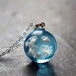 Pendant necklace Chain Blue Sky Ball with cloud Chic Women Fashion Jewelry $4.99