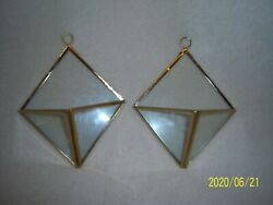 Pair Of Brass amp; Glass Wall Pockets $10.00