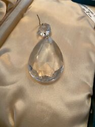 "1 Antique French Front Teardrop Crystal Chandelier Prisms 2 amp; 3 4"" Vintage $7.50"