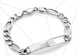 STERLING SILVER MENS PERSONALIZED ID BRACELET $89.99