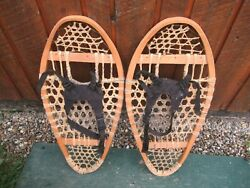 VINTAGE Snowshoes 27quot; Long x 13quot; Wide Has Bindings DECORATION $49.75