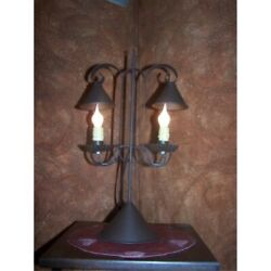 reproduction primitive lamp double lamp with hanging shades rustic brown $70.41
