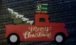 Merry Christmas Red Truck With Tree in Bed Wall Hanging Christmas Decor $5.95