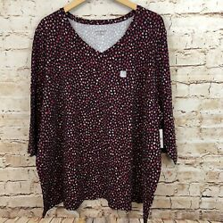Catherines womens 6X shirt top Hearts New black red 3 4 sleeve tee vneck P1 $32.19