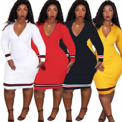 Woman New Fall Polyester Long Dress Bodycon DeepV Long Sleeve Sexy Cocktail Wear $24.87